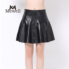 Latest style lady sexy mini circle skirt petite culottes black genuine leather girls skirt