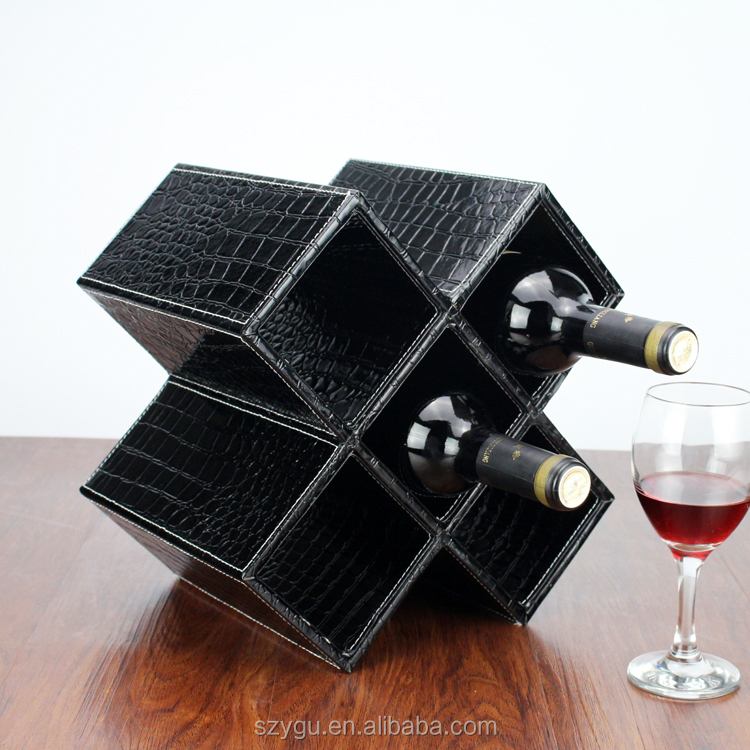 Customized Home Leather Wine Rack Wooden Gift Wine Glass Rack Holder