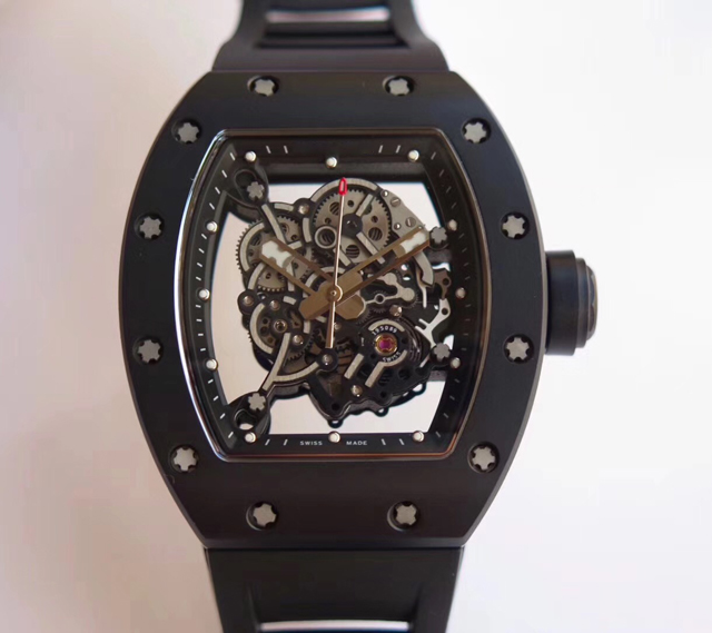 RM-055 luxury brand famous men watch skeleton see throug case original name on with japan movement real good watches from KV