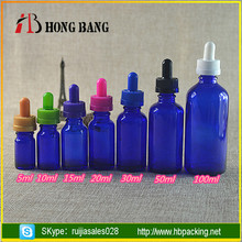 Wholesale 5ml 10ml 15ml 20ml 30ml 50ml 100ml cobalt blue essential oil glass dropper bottle with childproof cap