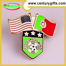 Two national flags metal badges, Various colour can be choose, OEM