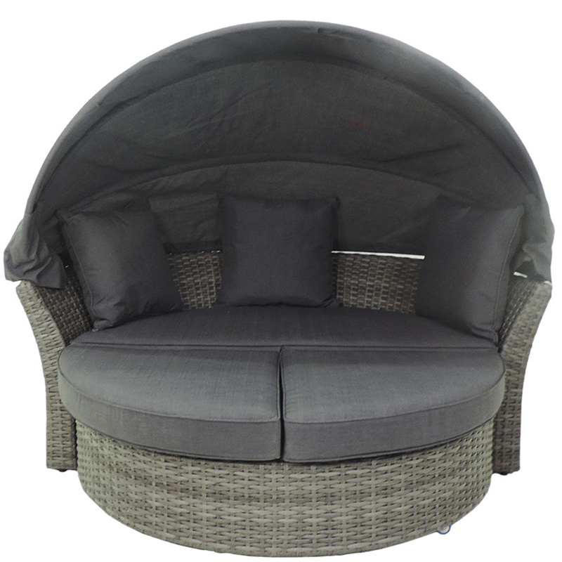 Outdoor garden round rattan Daybed furniture With Canopy