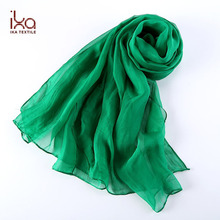 100% Silk Chiffon Long Green Arab Plain Hijab Scarf Silk Scarf for Sex Arabic Women