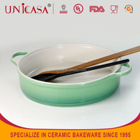UNICASA ceramic plate stoneware microware oven safe baking dish with handle