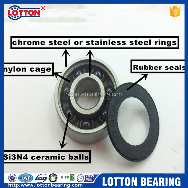 Long Life Oil Free Isolated Hybrid Ceramic Bearing 608