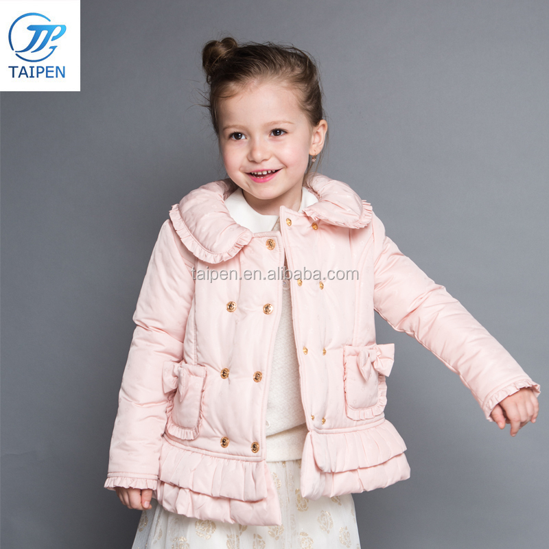 Girls Winter Coat Sweet Style Children Clothes With Pleated Hem 2017 New Design