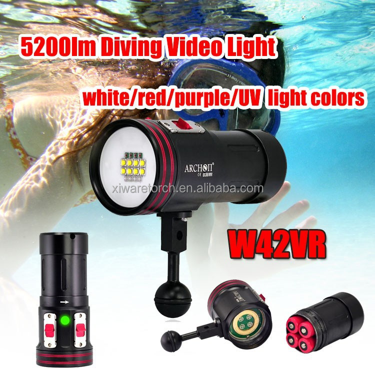 ARCHON W42VR white,red,purple and UV light <strong>diving</strong> <strong>torch</strong> for underwater photographing