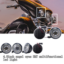 Auto parts led auxiliary driving lights with angel eyes 12v volt led for harley davidson