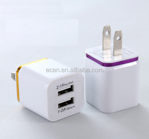 Dual Usb Wall Charger Portable Cell Phone Charger Adapter for Mobile Phone