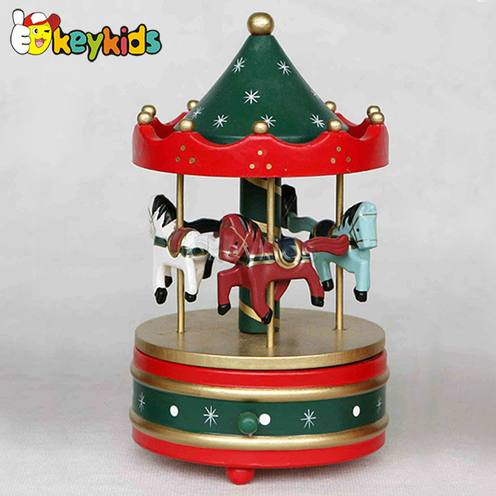 2016 wholesale baby wooden carousel horse music, christmas gift kids wooden carousel horse music box W07B009B