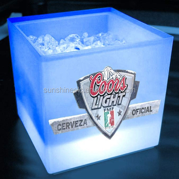 Soccer beer cooler acrylic plastic led light ice bucket