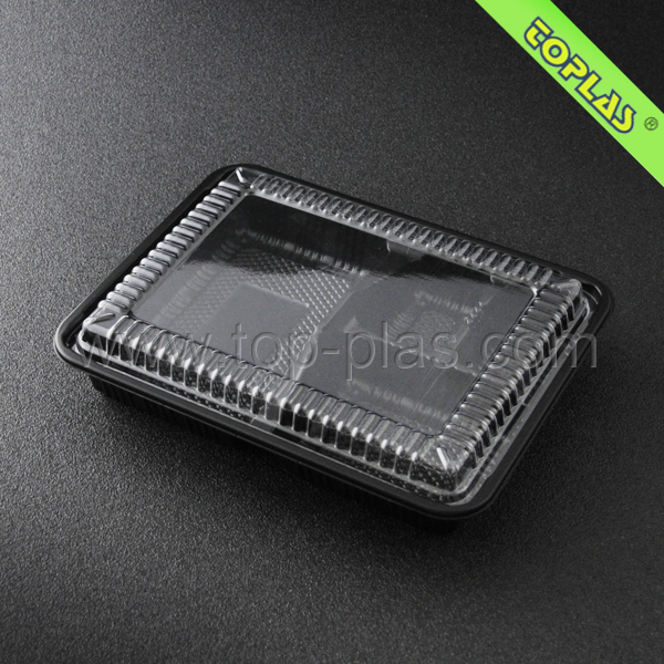 Disposable Plastic 4 Compartment Food Tray Thermal Lunch Container Box