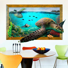 Turtle 3D photo frame wall stickers and environmental protection removable wall stickers living room bed room wall stickers
