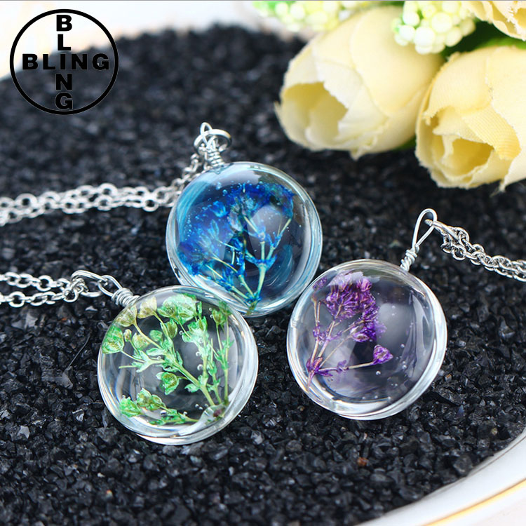>>>Fashion Genuine Dried Flower Pendant Necklace Styish Round Resin Cabochon Faceted Crystal Pretty Women Necklace