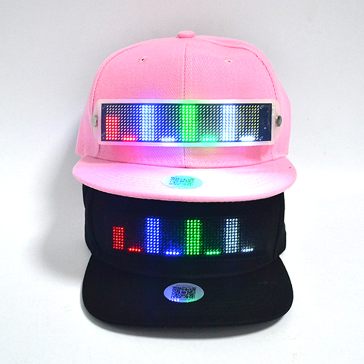 App Control Bluetooth LED Display Scrolling Message <strong>Hat</strong>,LED Cap With Sign Panel