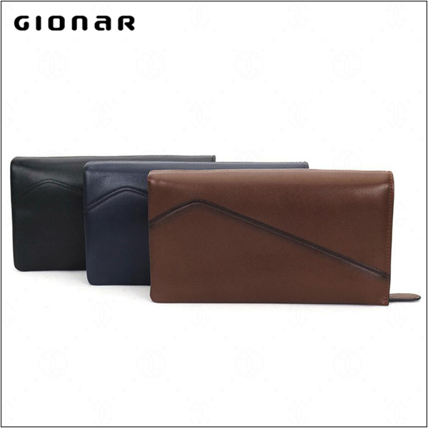 Low MOQ Wholesale Price Business Style Bifold Zipper Wrist Strap Men Wallet Leather