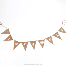 Baby Shower Swallowtail Design Bunting Cheap Burlap Banner Wholesale