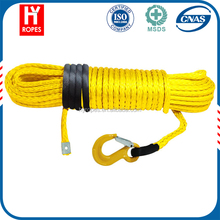 2016 UK Yellow colour 12 strands UHMWPE good winch rope 4x4