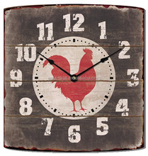rooster iron plate with print paper metal wall decor clock