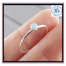 wholesale jewelry zinc alloy silver Textured Opal Stacking Slim Gemstone Rings for women