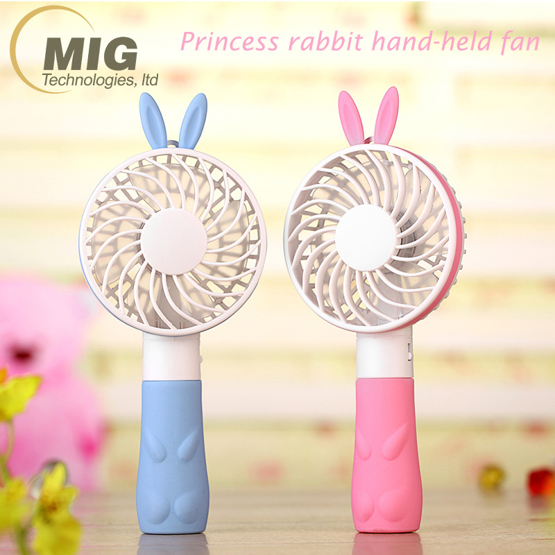Small Rabbit Style Summer Portable Rechargeable Fan Air Cooler Mini USB Fan Operated Desk handheld fan Personal Cooling