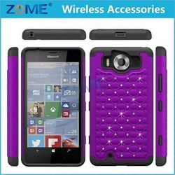 NEW Arrival China Price Hybrid Dual Layer PC + Silicone Bling Diamond Phone Cases For Microsoft Lumia 590