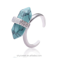New kallaite cuff ring,silver stone finger rings design for ladies(SWTPR1319)