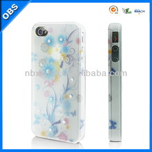rhinestone transparent design PC mobile phone cases for iphone4/ 4S