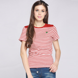 Women's fashion striped short sleeve 100 cotton fabric for t-shirts made in china