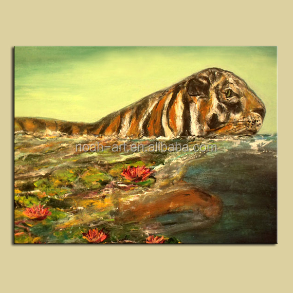 2016 cheap canvas modern artwork tiger paintings for living room