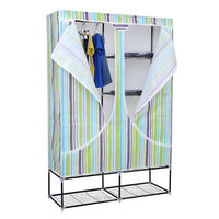 RT-125FA Cheap simple design bedroom assemble canvas folding fabric cloth wardrobe