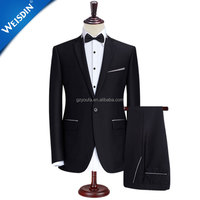China custom men's suit fabric top brand 2 piece latest design black coat pant men suit