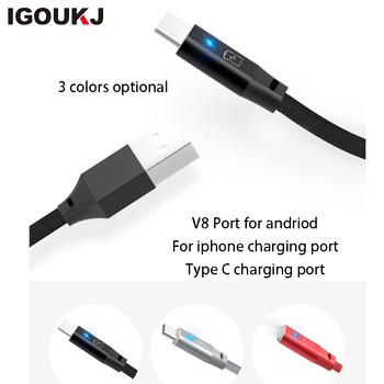 freeshipping Aluminum breathing light micro USB cable 2.4A fast type C for samsung s8 s9 note9 charging port for iphone 8 X