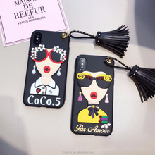 Fashion sunglass modern girl goddess rivet tassel phone case for iphone x 8 7 super hot 3D soft silicon case for iphone 6 6plus