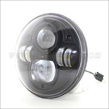 "LED Halo 7"" Round LED Headlight 73W Car Light 10-30V Auto Jeep Wrangler JK head light with DRL Light"