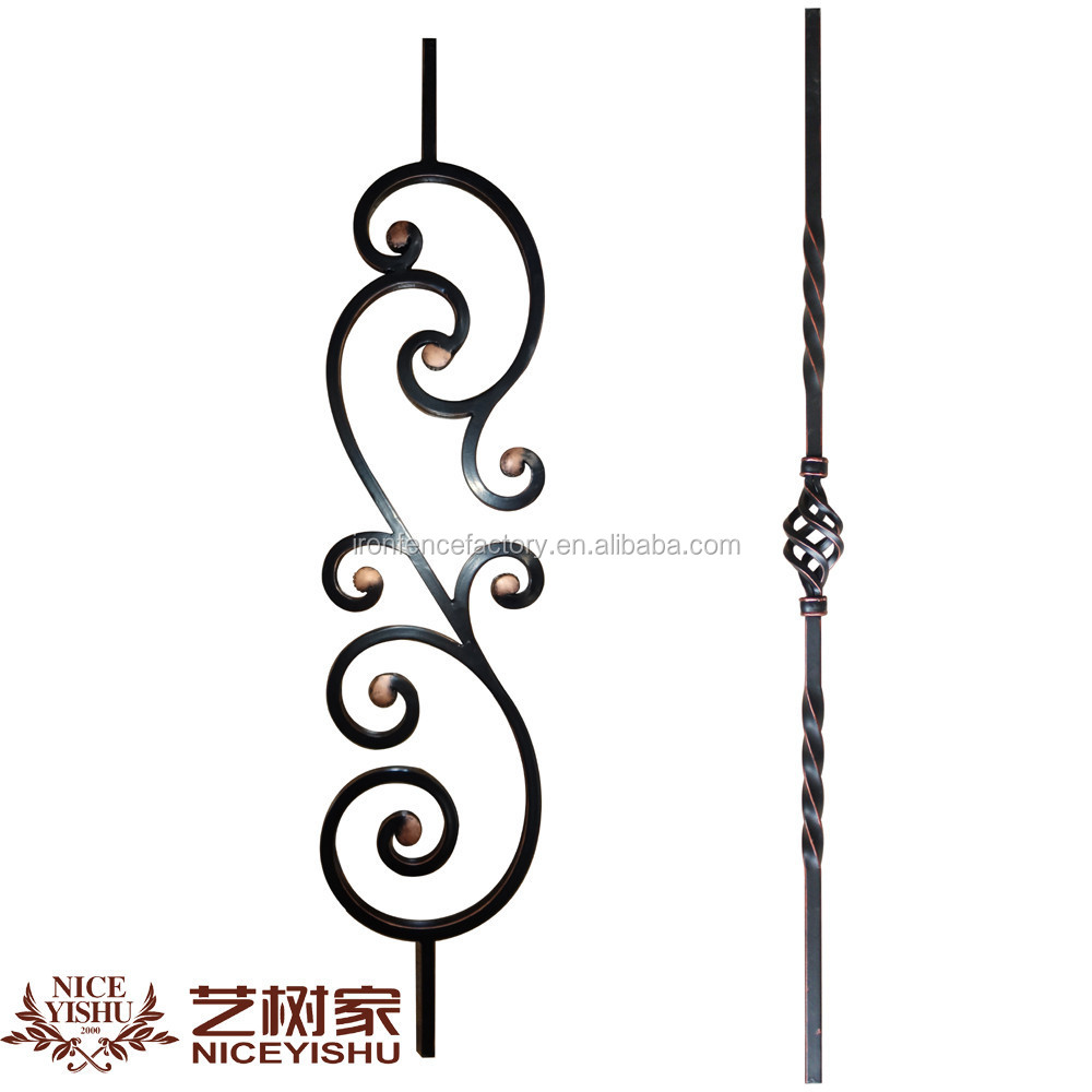 Indoor decorative wrought iron hand railing components