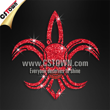 Custom t shirt iron on glitter nailhead red evil fleur de lis