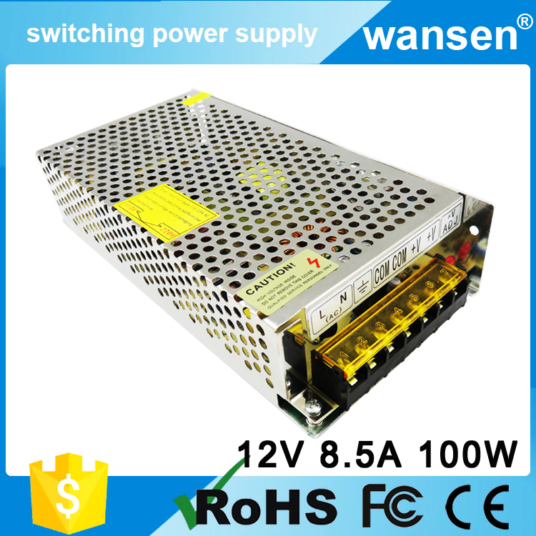 100W 12V 8.4A 2 Years Warranty 220V AC to DC Converter single output Power Supply Unit With LED Drivers and CE Certification