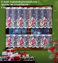 jacquard hand printed lace cafe christmas santa curtains