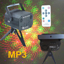 Mini Laser Stage Lighting MP3 Remote Control 16 Designs Multi-Pattern Auto Sound Holographic Anime Laser Projector Light