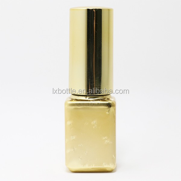 6.5 ML flat round / round cylinder /Shiny square shape UV Electroplating nail polish oil bottle with unique brushes