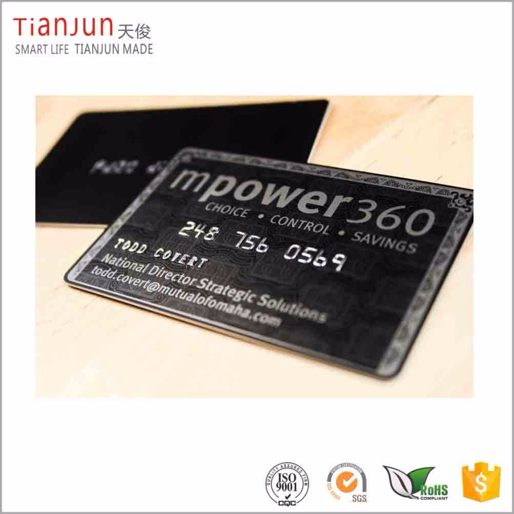 Custom cr80 plastic black matte pvc card