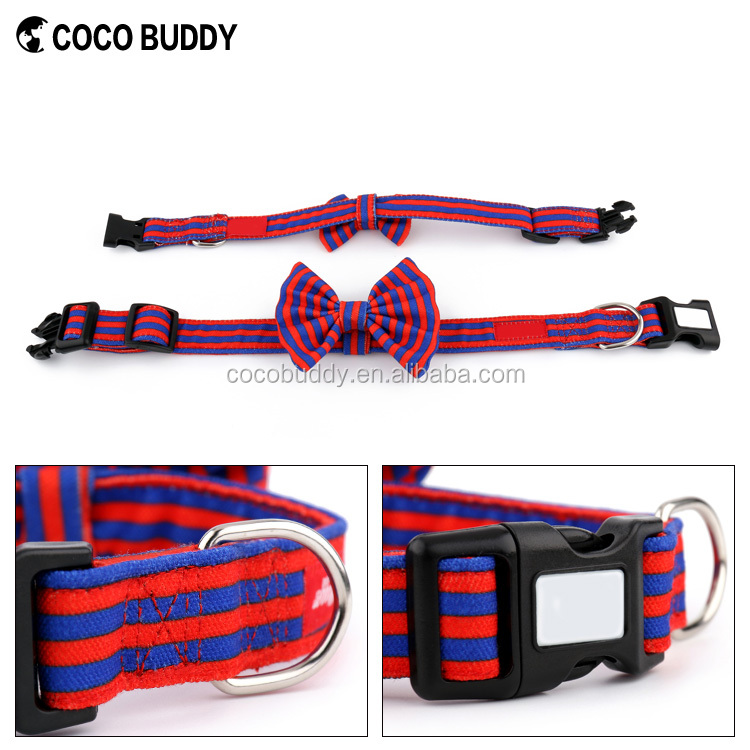 Wholesale 100% Pure Cotton Canvas Custom Colour Bow Tie Dog Collar Pattern