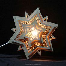 new led wooden polygonal christmas star wall hanging light decoration indoor art fairy ornament