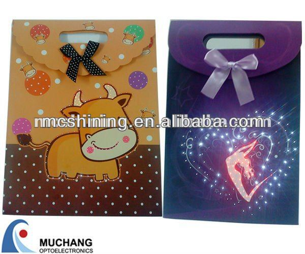 Light up luxury paper packaging bag with voice