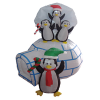 138cm inflatable penguins on the ice house for christmas decoration