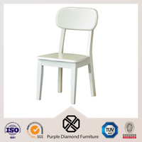 Dining Room White Glossy Birch Wood Emes Chair without Armrest