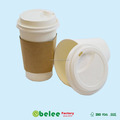 paper cup with paper sleeve and lid
