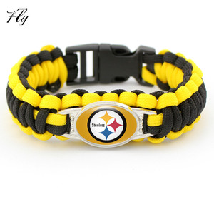New Arrival NFL American Football 32 Teams Logo Paracord Woven Bracelet Wholesale
