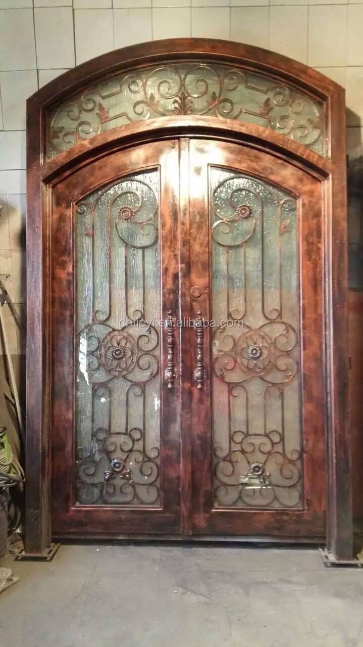 Hot sale antique wrought iron house front entry double for Wrought iron entry doors